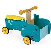 Janod- Correpasillos Hipopótamo (madera), Color azul/amarillo (Juratoys J08003)