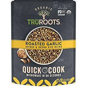 truRoots Quick Cook, Quinoa and Brown Rice Blend, Roasted Garlic, 8 Count,  8 5 Ounce