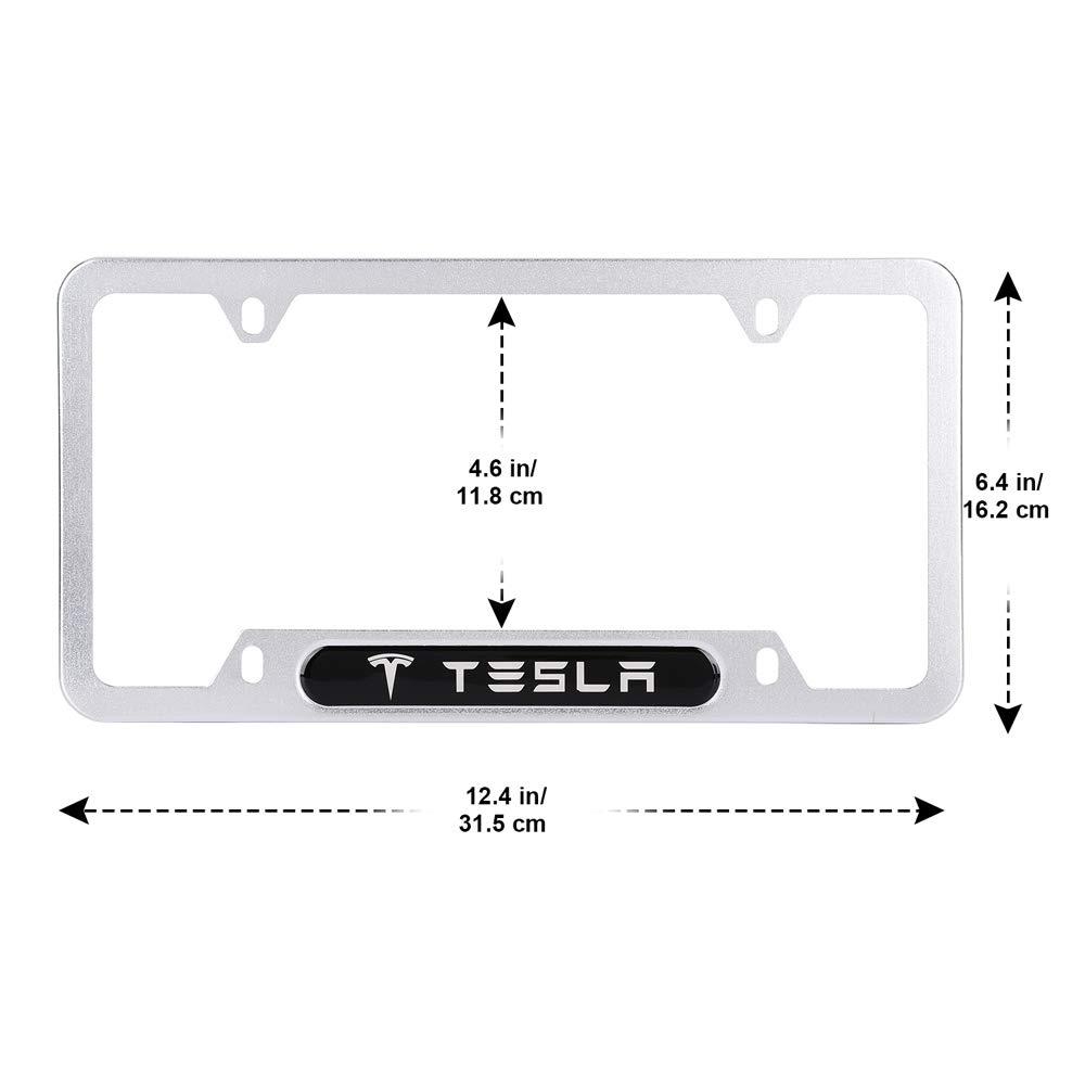 Bocianelli 2 Pack High-Grade License Plate Frame for Tesla,for All Tesla License Frame,with Screw Caps Cover Set Black