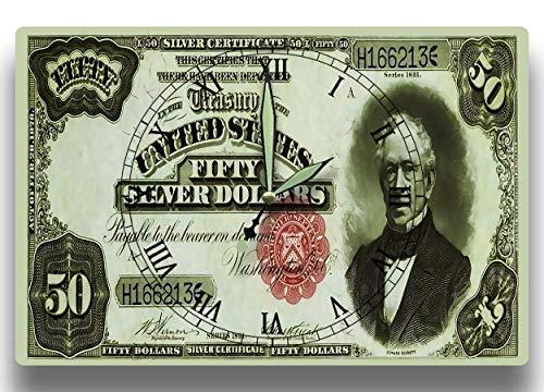 Edward Everett Customized Money Clock United States Currency Series 1891 50 Dollar Silver Certificate 8 x 12 inch Wall Clock Massachusetts ()