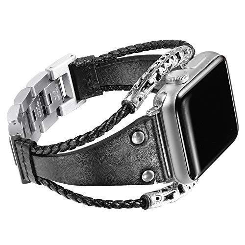 Secbolt Leather Bands Compatible Apple Watch Band Series 4 40mm, Series 3/2/1 38mm, Double Twist Handmade Vintage Natural Leather Bracelet Replacement Bracelet Straps Women Black ()