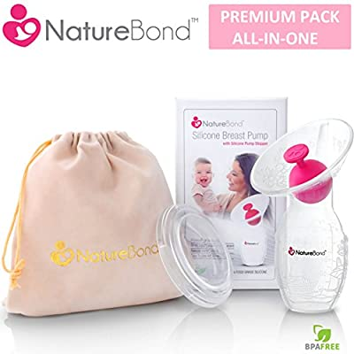 NatureBond Silicone Manual Breast Pump Breastfeeding Milk Saver Suction | BONUS Pump Stopper, Lid, Pouch, AirTight Vacuum Sealed in Hardcover Gift Box. BPA Free & 100% Food Grade Silicone by NatureBond