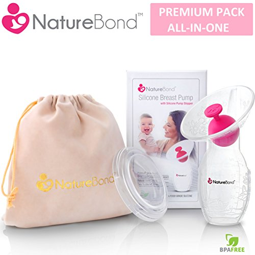 NatureBond Silicone Manual Breast Pump Breastfeeding Milk Saver Suction | BONUS Pump Stopper, Lid, Pouch, AirTight Vacuum Sealed in Hardcover Gift Box. BPA Free & 100% Food Grade Silicone Vacuum Pump Supply