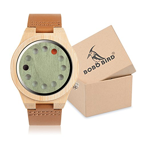 BOBO Bird Mens Bamboo Wood Watch 12 Holes Timer Unique Design Large Size for Men with Cowhide Leather Strap Analog Quartz Wrist Watches (Strap Quartz Leather Mens)