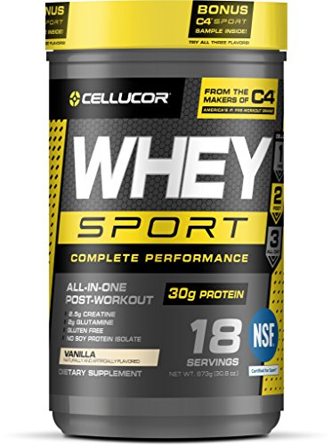 Cheap Cellucor Whey Sport Protein Powder, Post Workout Recovery Drink with Whey Protein Isolate, Creatine & Glutamine, Vanilla, 18 Servings