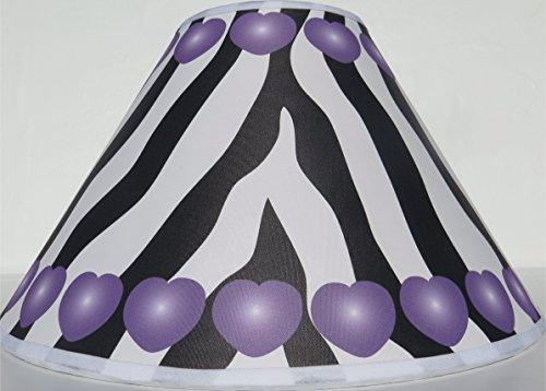 Purple Hearts Zebra Print Lamp Shade / Zebra Print Nursery Decor by Presto Lamp Shades