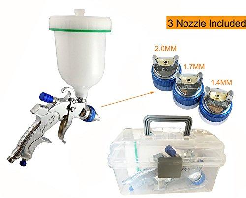 Muzata HVLP Gravity Feed Air Spray Gun 3 Nozzles 1.4mm 1.7mm 2.0mm, 600cc Cup