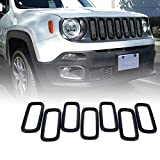 Xprite Black 7pcs ABS Front Grill Grille Inserts for 2015-2017 Jeep Renegade