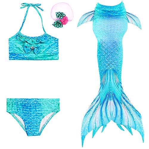 3 Pcs Girls Swimsuit Mermaid Tails for Swimming,Swimming Costume Party, Princess Bikini Bathing Suit Set for Girls(Blue, Height45-47in (5-6Y) 120) -