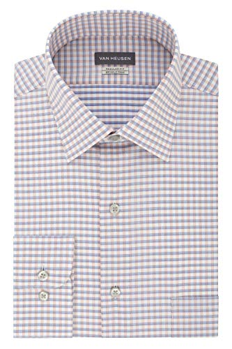 Van Heusen Men's Dress Shirts Regular Fit Check, Denim Multi, 18
