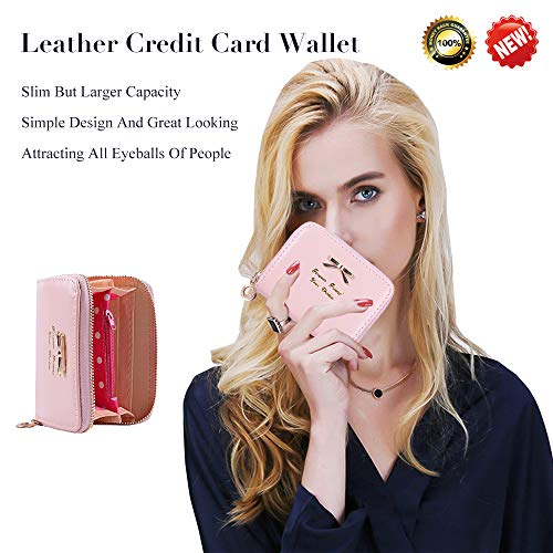 Leather Credit Card Wallet With Zipper Travel Wallet Credit Card Holder, Cute Wallets For Girls Women (light pink)
