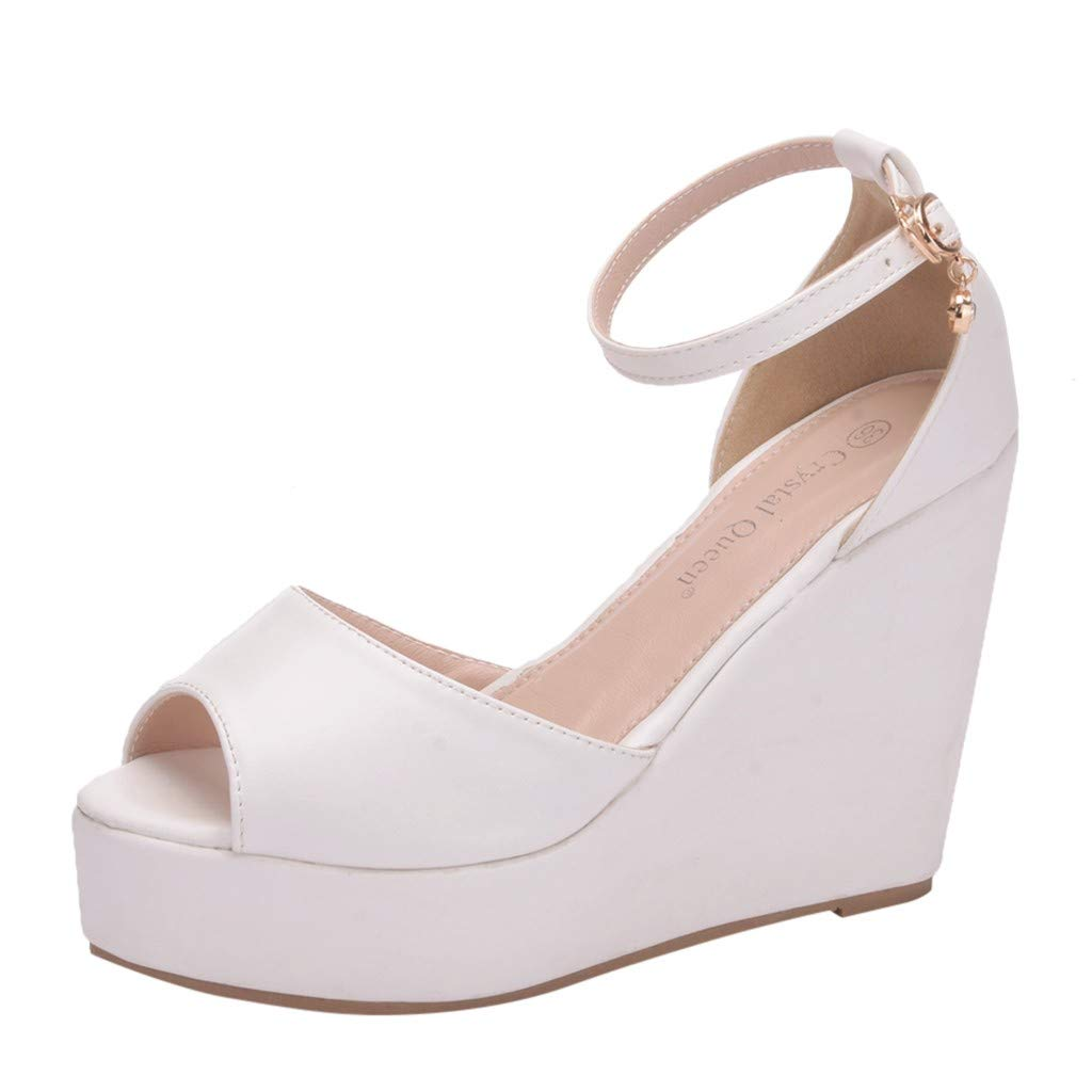 Platform Wedge Sandals for Women,Summer Classic High Heeled Open Toe Roman Ankle Strap Buckle Shoes (US:5, White)