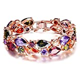 Rose Gold Plated Cubic Zirconia Multicolor Bracelet for Women Crystal Bangle Wedding Jewelry