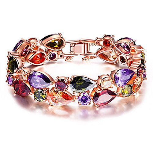 ic Zirconia Multicolor Bracelet for Women Crystal Bangle Wedding Jewelry (Colored Stone Bracelet)