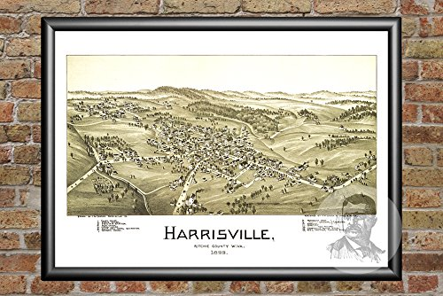 (Ted's Vintage Art Harrisville West Virginia 1899 Vintage Map Print   Historic Ritchie County, WV Art   Digitally Restored On Museum Quality Matte Paper 12