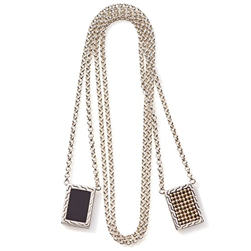 John Hardy Classic Sterling Silver Chain, Jawan 18K Gold and Black Onyx Pendants, 28 Inches Length
