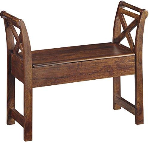 Cheap Ashley Furniture Signature Design – Abbonto Storage Accent Bench – Casual – Warm Brown Finish