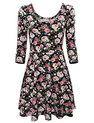 Tom's Ware Women Elegant Floral Print Long Sleeve Scoop Neck Flare Dress