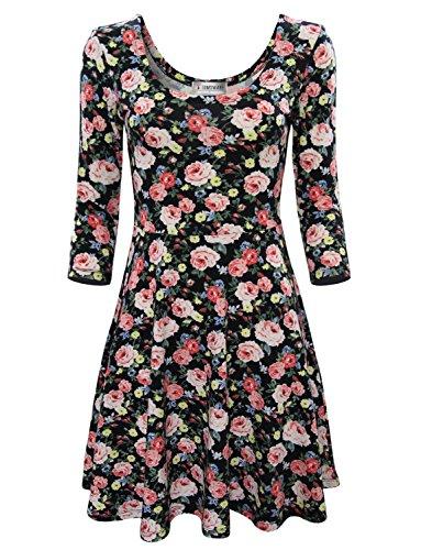 TAM WARE Women Elegant Floral Print 3/4 Sleeve Scoop Neck Flare Dress