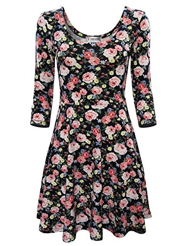 Tom's Ware Women Elegant Floral Print Long Sleeve Scoop Neck Flare Dress TWCWD100-BLACK-US M