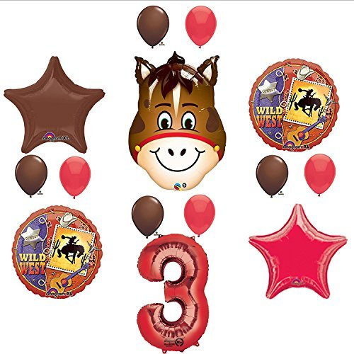 Wild West Cowboy Western 3rd Birthday Party Supplies and Balloon Decorations