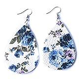 MOONQING Teardrop Imitation Leather Earrings Bohemian Flower Print Creative Petal Punk Style Elegant Sexy Earrings,5#