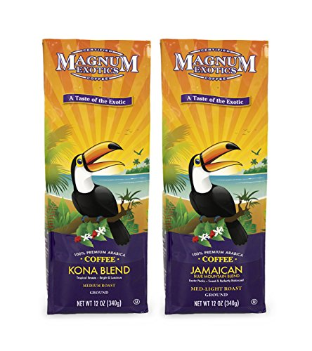 Magnum Coffee Taste of the Exotics Ground Coffee, Jamaican Blend, Kona Blend, 24 Ounces Boxed Bundled Set (Two 12 ounce Bags)