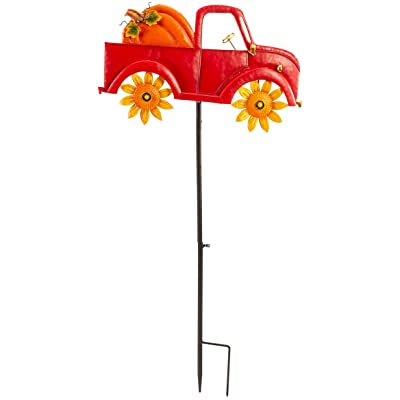 """Harvest Red Truck Spinner Stake by Fox River Creations, Outdoor Yard Stake Accent Décor, 39"""" High : Garden & Outdoor"""