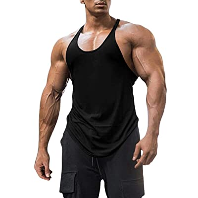 Mens Gym Bodybuilding Tank Top  Fitness Muscle Sleeveless Cotton T-shirt Vest