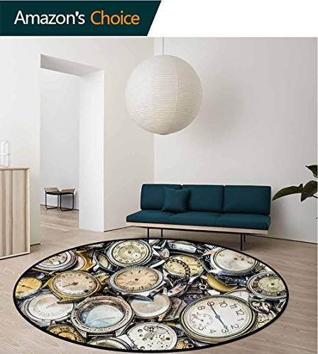 (RUGSMAT Clock Round Kids Rugs,Antique Theme A Pile of Several Different Vintage Style Clocks Retro Pattern Design Learning Carpet Non Skid Nursery Kids Area Rug for Playroom,Round-39 Inch)