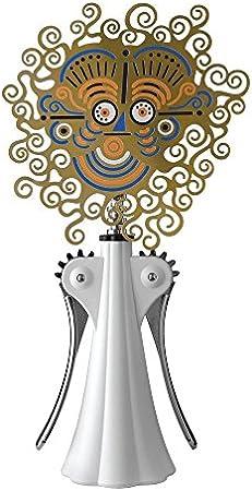 Alessi Anna G–Sacacorchos (en latón en Pantalla de Seda Resina termoplástica, zamak), diseño, Color Blanco y Cromado