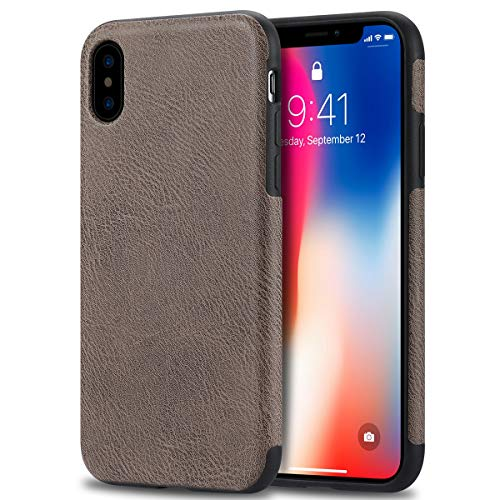 Bisikor Compatible with iPhone Xs Max Case (2018) Leather Texture Design Easy Grip Slim Case (Gray)