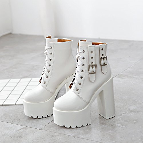 GTVERNH-Autumn And Winter White 8.5Cm Single Shoes Waterproof Platform And Short Boots White High Heel Tie Women Shoes Night Shop Martin Boots Thirty-seven ixdrJd