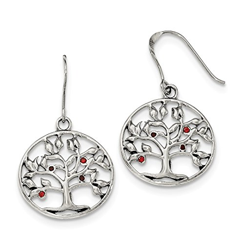 ICE CARATS 925 Sterling Silver Red Cubic Zirconia Cz Tree Circle Shepherd Hook Drop Dangle Chandelier Earrings Fine Jewelry Ideal Gifts For Women Gift Set From Heart