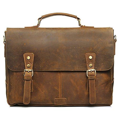 S-ZONE Vintage Crazy Horse Leather Laptop Messenger Shoulder Bag Briefcase by S-ZONE