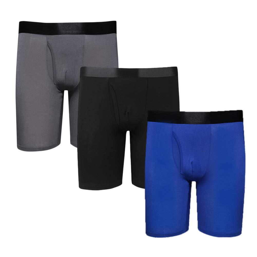 Men's Modal Big and Tall Underwear Long Leg Boxer Brief / 3-Pack Royal Blue Black Gray / 4XL (52''-54'') by Y2Y2