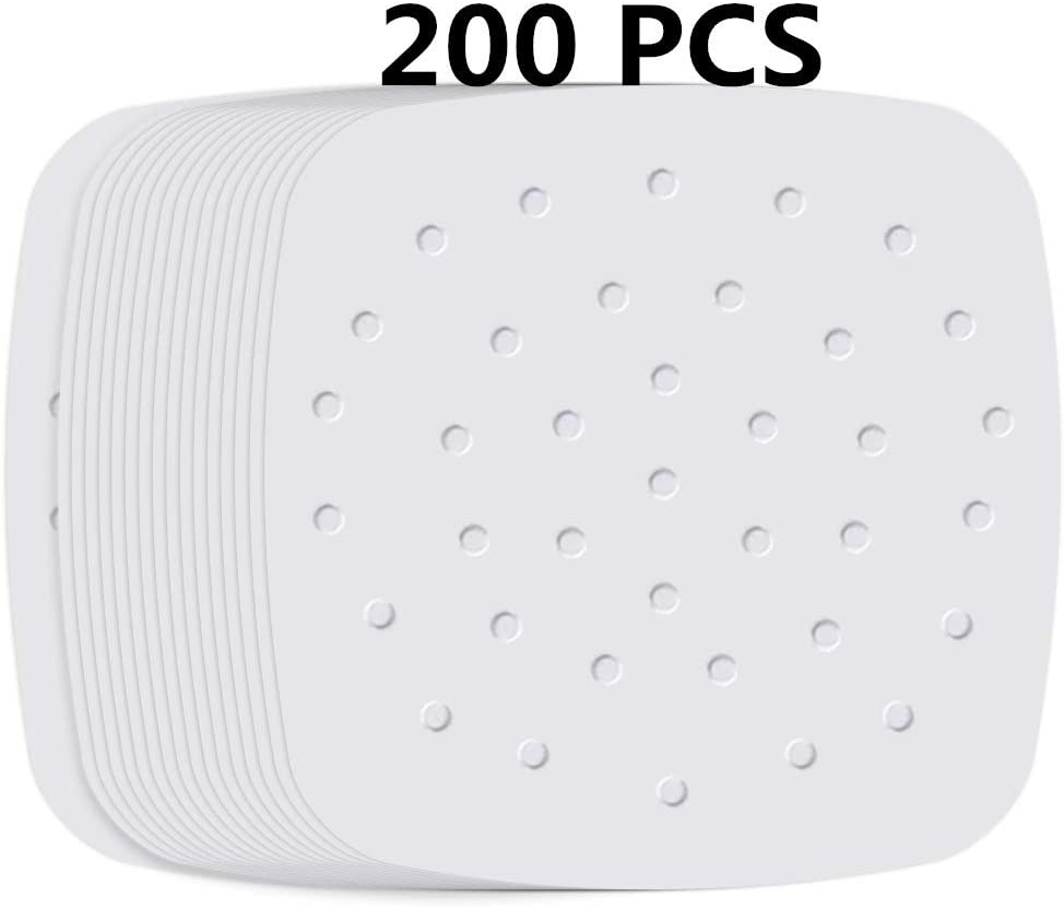 Air Fryer Liners,Set of 200,7.5 inch Square Air Fryer Paper,Premium Perforated Parchment Steaming Papers,Non-stick Steamer Mat,Baking,Cooking,Steaming