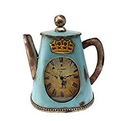 Creative Home Distressed Tea Kettle Shape Metal Clock, 11 x 4-3/4 x 13, Aqua Blue