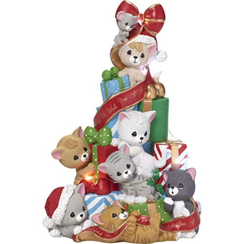 Precious Moments We Wish You A Merry Cats and Mouse LED Christmas Tree Musical Box, Multicolor