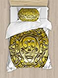 Pirate Duvet Cover Set by Ambesonne, Gold Money Pirate Coin Medallion Scary Skull Figure Ancient Antique Currency Print, 2 Piece Bedding Set with 1 Pillow Sham, Twin / Twin XL Size, Gold White