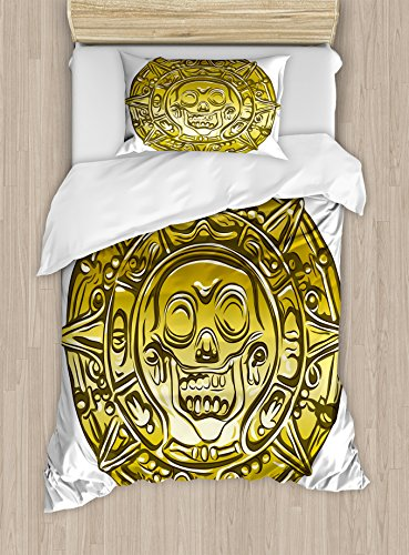 Pirate Duvet Cover Set by Ambesonne, Gold Money Pirate Coin Medallion Scary Skull Figure Ancient Antique Currency Print, 2 Piece Bedding Set with 1 Pillow Sham, Twin / Twin XL Size, Gold White by Ambesonne