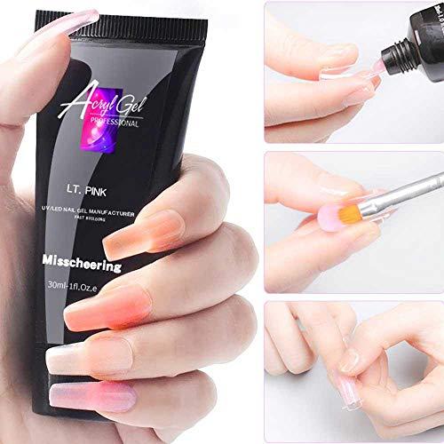 Kit de 1 extensiones de uñas de gel de poliéster para mujer con pincel de uñas para principiantes y técnicos de uñas profesionales: Amazon.es: Belleza