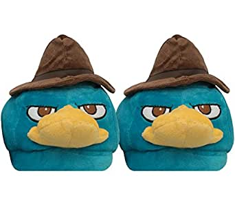 Disney Phineas And Ferb Perry The Platypus Face Adult Plush Slippers Large 10/11