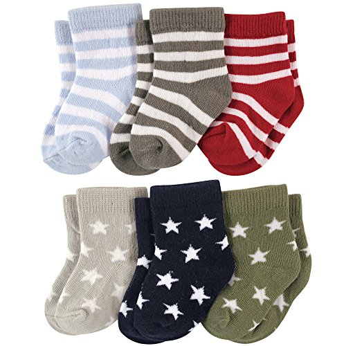 Luvable Friends 6-Pack Baby Colored Crew Socks, Stars & Stripes, 0-6 Months