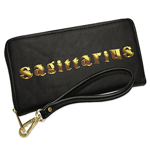 Wallet Clutch Sagittarius Printed Gold looking Lettering with Removable Wristlet Strap Neonblond