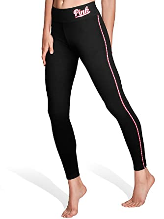 1a96f91e29c73f Amazon.com: Victoria's Secret PINK Flat Waist Yoga Legging Small Black/Pink  Piping: Clothing