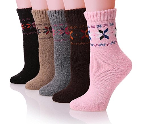 Mens Dress Wool Socks Thermal Heavy Thick Warm Fuzzy Boot Winter Socks For Cold Weather (Mix 00A)