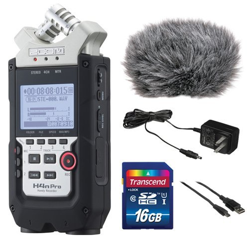 Zoom H4n Pro 4-Channel Handy Recorder Bundle with Custom Windbuster for Zoom H4n, AC Adapter, A Male to Type B Mini Male Cable (6