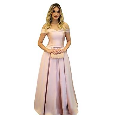 Liyuke Stunning Off Shoulder Prom Dresses Long Satin Corset Back ...