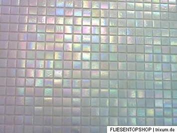 FLIESENTOPSHOP Glasmosaik Fliesen Mosaik Perlmutt Effekt   Weiß Top Bad  Dusche Pool